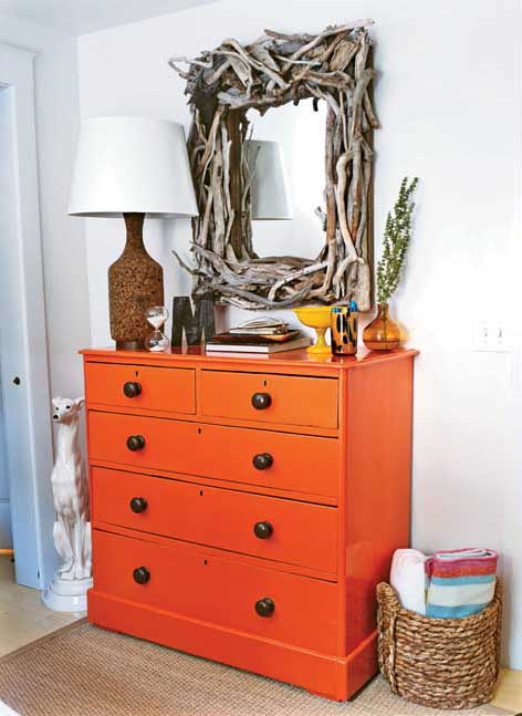 Old Pine Chest Updated in Orange-2