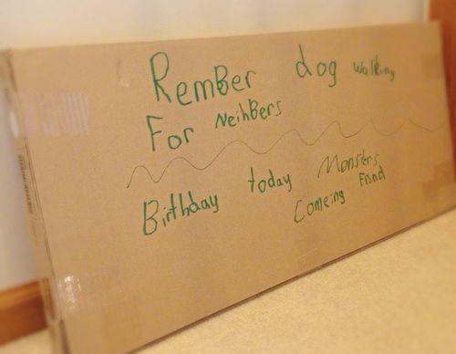 box used as memo board